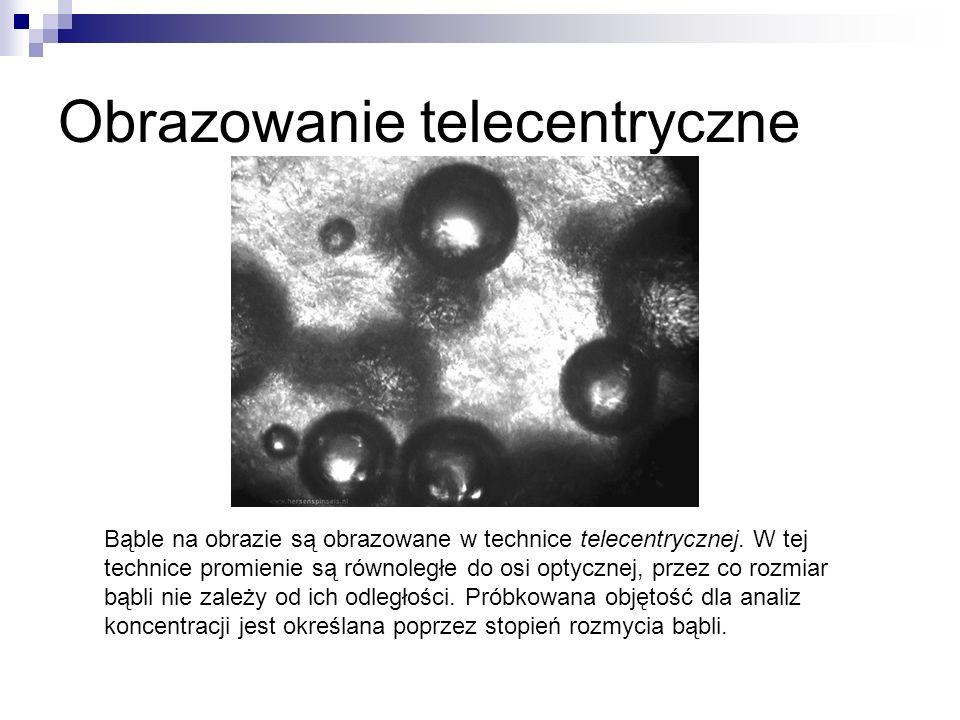 Obrazowanie telecentryczne Bąble na obrazie są obrazowane w technice telecentrycznej. W tej technice promienie są równoległe do osi optycznej, przez c