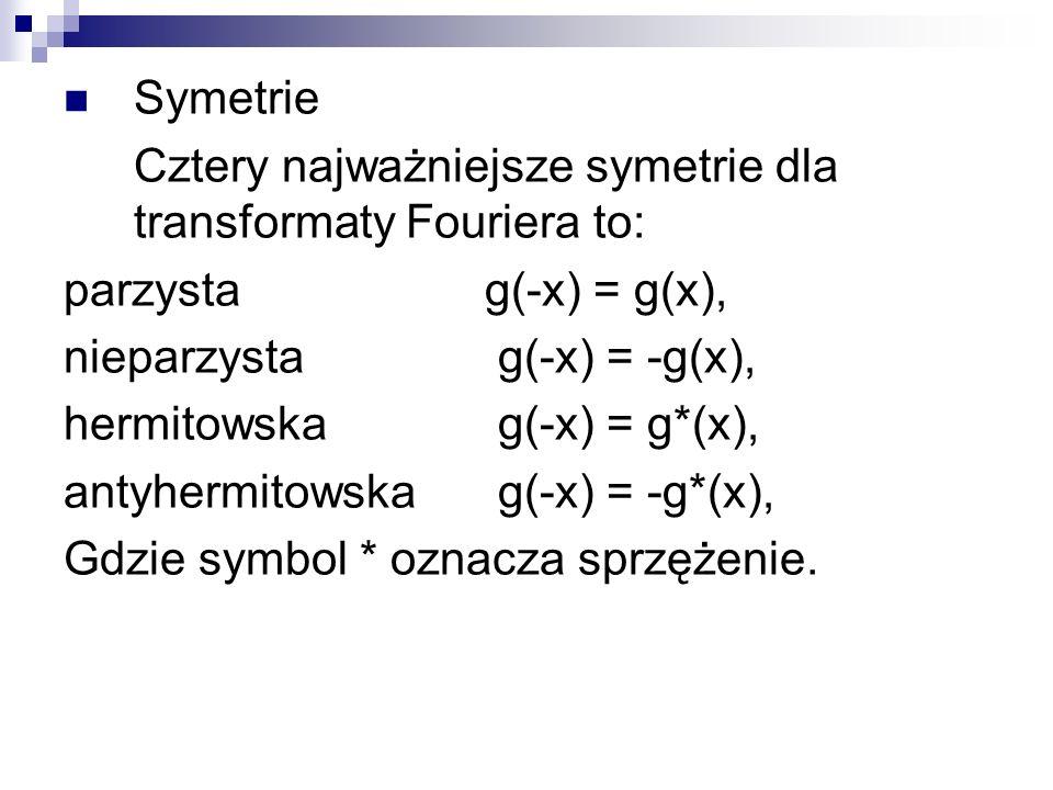 Symetrie Cztery najważniejsze symetrie dla transformaty Fouriera to: parzystag(-x) = g(x), nieparzysta g(-x) = -g(x), hermitowska g(-x) = g*(x), antyh