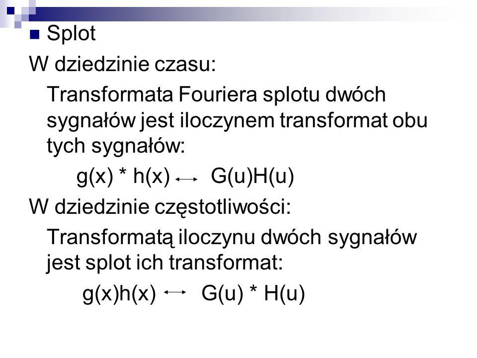 Splot W dziedzinie czasu: Transformata Fouriera splotu dwóch sygnałów jest iloczynem transformat obu tych sygnałów: g(x) * h(x) G(u)H(u) W dziedzinie