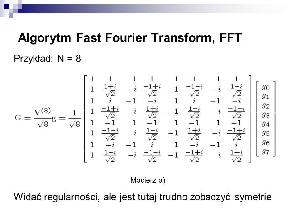 Algorytm Fast Fourier Transform, FFT Przykład: N = 8 Macierz a) Widać regularności, ale jest tutaj trudno zobaczyć symetrie