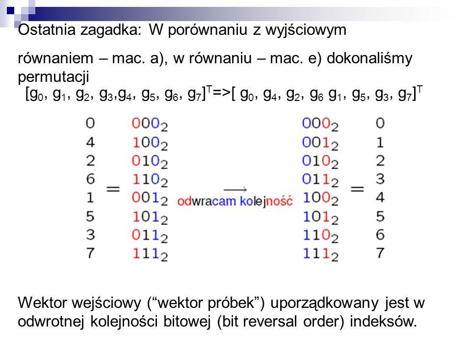 Ostatnia zagadka: W porównaniu z wyjściowym równaniem – mac. a), w równaniu – mac. e) dokonaliśmy permutacji Wektor wejściowy (wektor próbek) uporządk