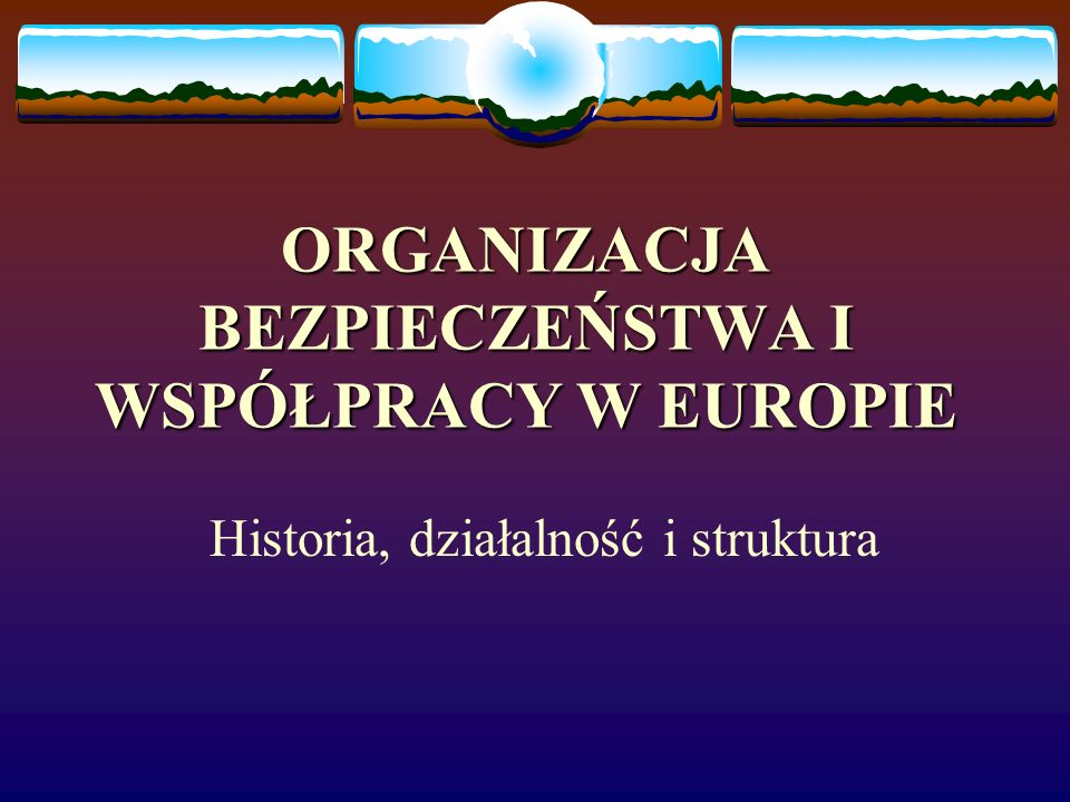 Struktura i instytucje OBWE Spotkania na szczycie: - spotkania szefów państw i rządów, - odbywają się zasadniczo co 2 lata, - określają strategiczne priorytety OBWE i zapewniają konsultacje na najwyższym szczeblu politycznym ostatnie spotkanie – Stambuł 1999 r.) Konferencje przeglądowe: - poprzedzają spotkania na szczycie, - ocena całego spektrum działalności OBWE, - debata na temat implementacji postanowień przez kraje członkowskie oraz rozważanie ewentualnych propozycji dotyczących zmian w strukturach organizacji.