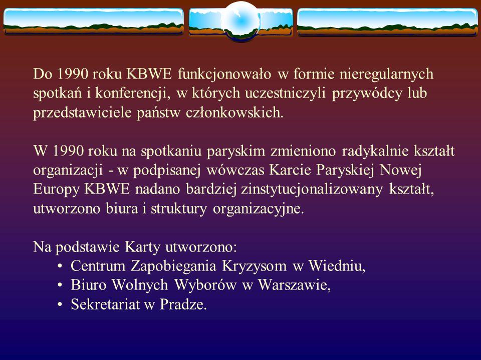 Do 1990 roku KBWE funkcjonowało w formie nieregularnych spotkań i konferencji, w których uczestniczyli przywódcy lub przedstawiciele państw członkowsk