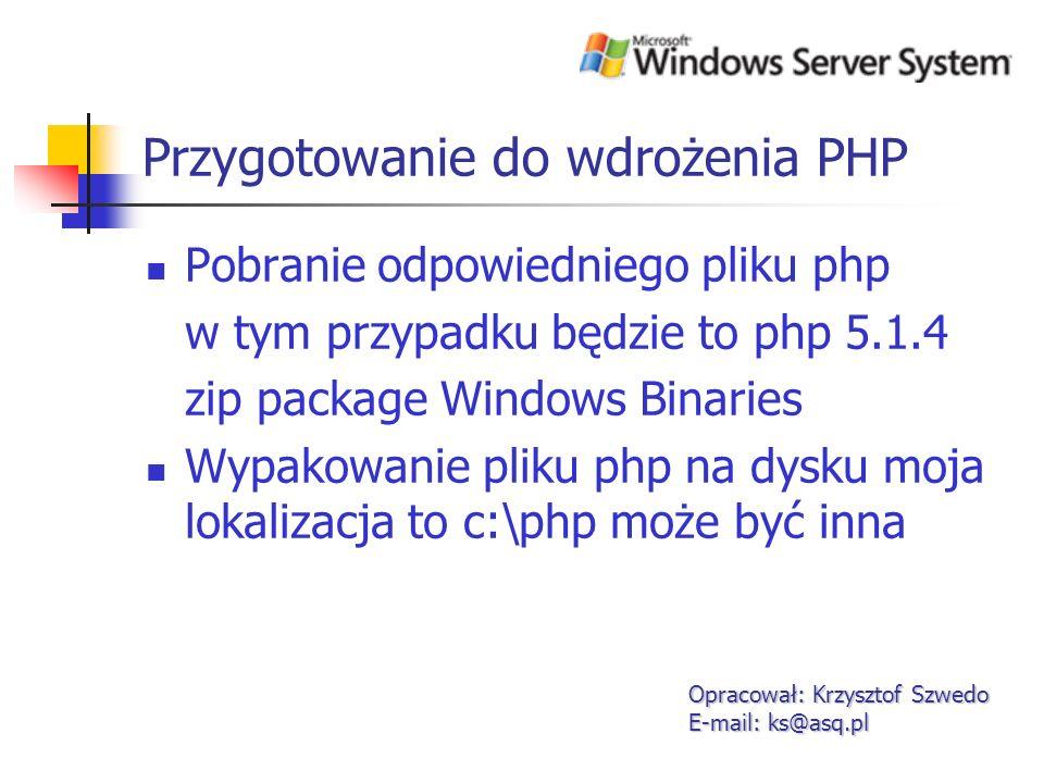Konfiguracja PHP Skopiowanie pliku php5ts.dll do katalogu c:\windows\system32 Zmiana pliku php.ini-recommended na php.ini Opracował: Krzysztof Szwedo E-mail: ks@asq.pl