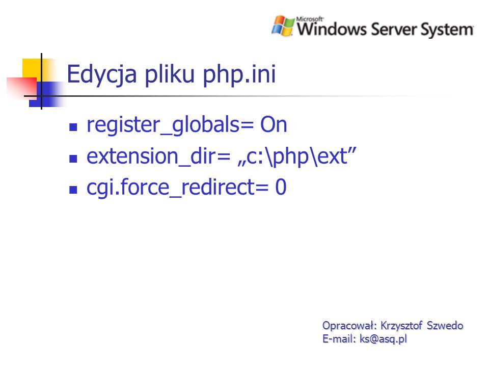 Instalacja IIS 6 Opracował: Krzysztof Szwedo E-mail: ks@asq.pl 1.Usługę IIS może dodać na dwa sposoby Manage your Server Control Panel- add or remove programs
