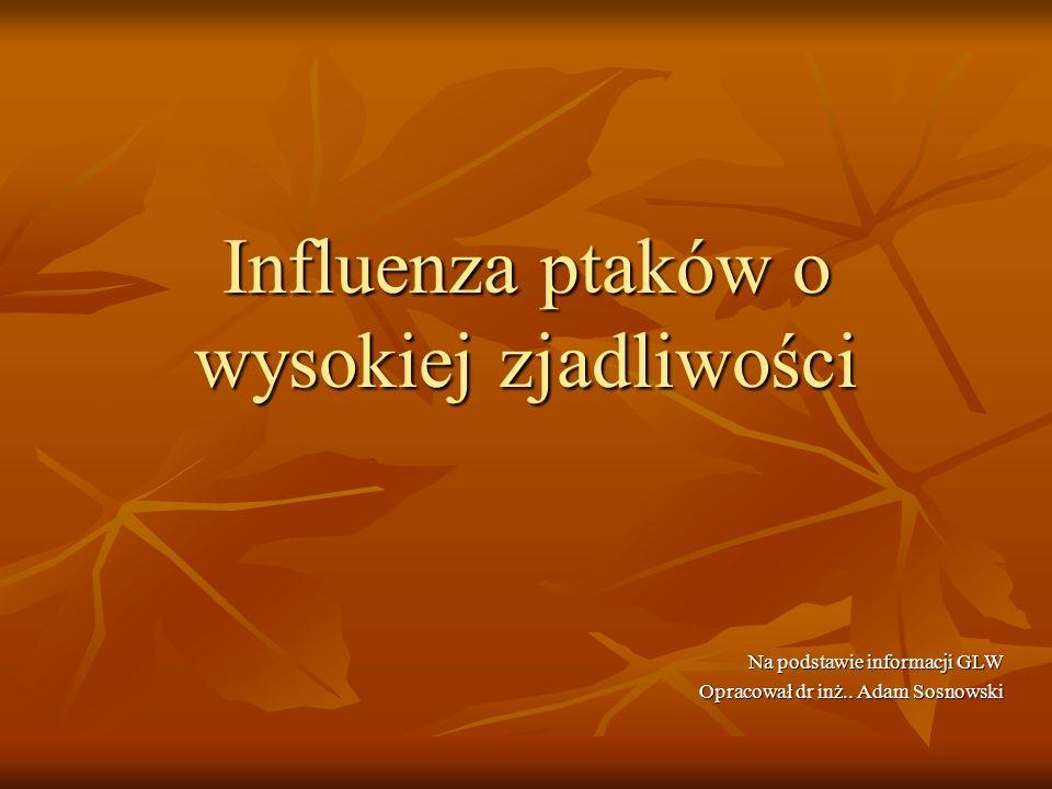 Influenza ptaków o wysokiej zjadliwości Na podstawie informacji GLW Opracował dr inż.. Adam Sosnowski