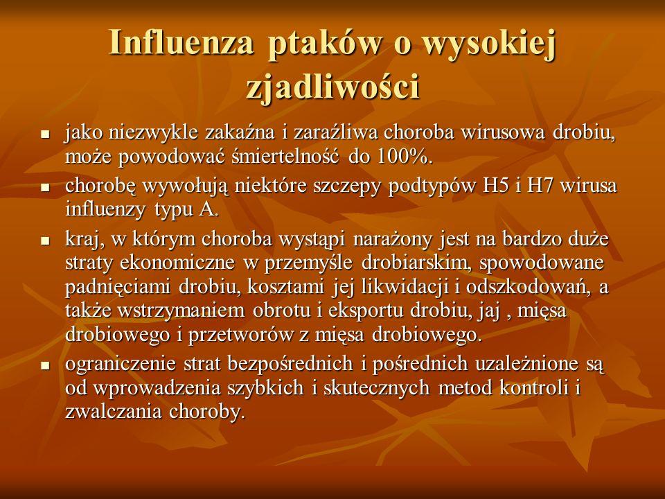 Influenza ptaków o wysokiej zjadliwości w Polsce dotąd nie stwierdzono influenzy drobiu o wysokiej zjadliwości, natomiast w połowie lat 90-tych notowano u indyków przypadki influenzy ptaków (AI) powodowane przez wirus o niskiej zjadliwości.