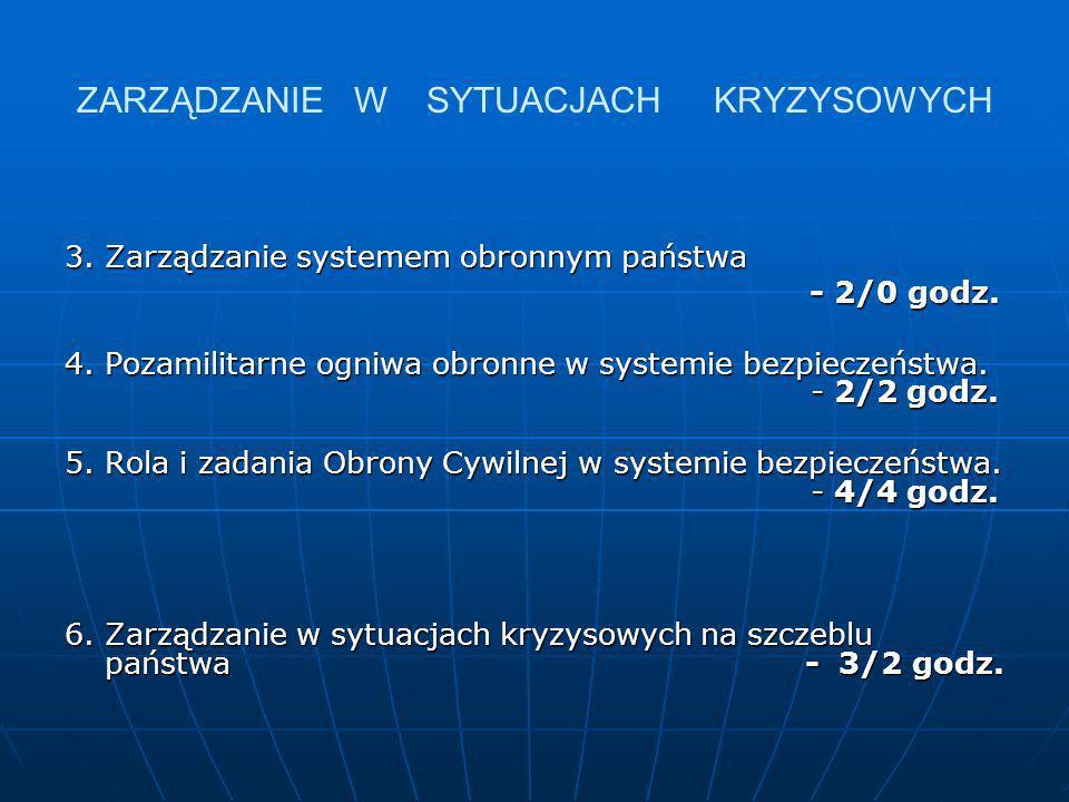 ZARZĄDZANIE W SYTUACJACH KRYZYSOWYCH 3. Zarządzanie systemem obronnym państwa - 2/0 godz. - 2/0 godz. 4. Pozamilitarne ogniwa obronne w systemie bezpi