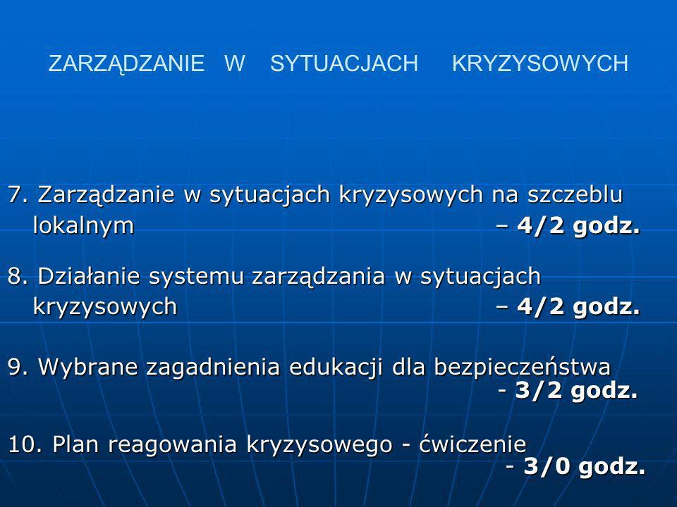 ZARZĄDZANIE W SYTUACJACH KRYZYSOWYCH 7. Zarządzanie w sytuacjach kryzysowych na szczeblu lokalnym – 4/2 godz. 8. Działanie systemu zarządzania w sytua