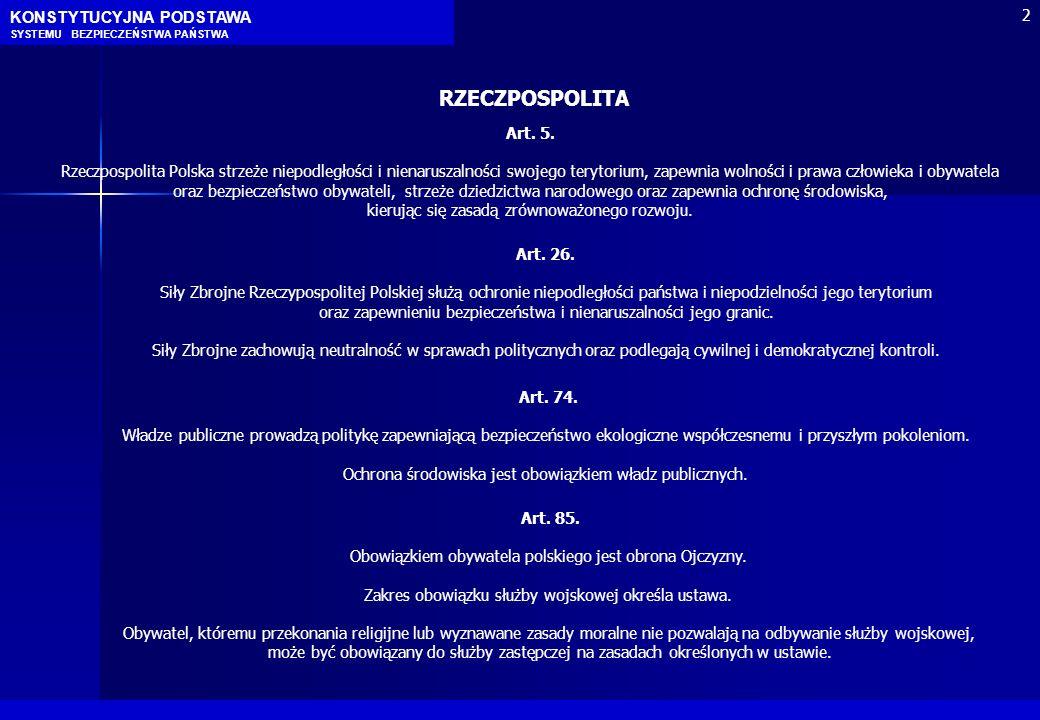 Art. 5. Rzeczpospolita Polska strzeże niepodległości i nienaruszalności swojego terytorium, zapewnia wolności i prawa człowieka i obywatela oraz bezpi