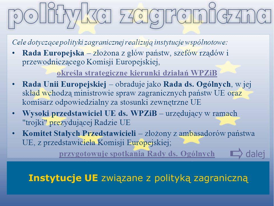 Cele dotyczące polityki zagranicznej realizują instytucje wspólnotowe: Rada Europejska – złożona z głów państw, szefów rządów i przewodniczącego Komis