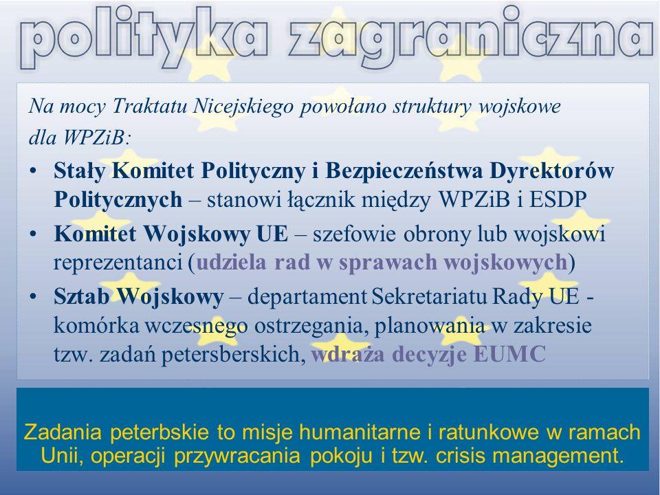 Na mocy Traktatu Nicejskiego powołano struktury wojskowe dla WPZiB: Stały Komitet Polityczny i Bezpieczeństwa Dyrektorów Politycznych – stanowi łączni