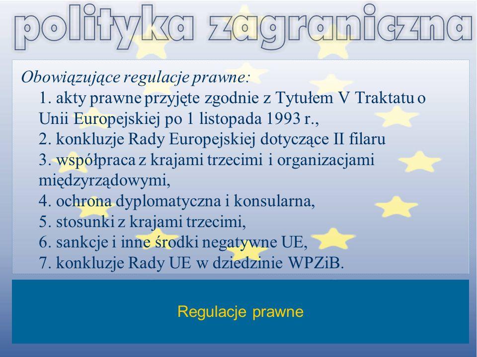 Obowiązujące regulacje prawne: 1. akty prawne przyjęte zgodnie z Tytułem V Traktatu o Unii Europejskiej po 1 listopada 1993 r., 2. konkluzje Rady Euro