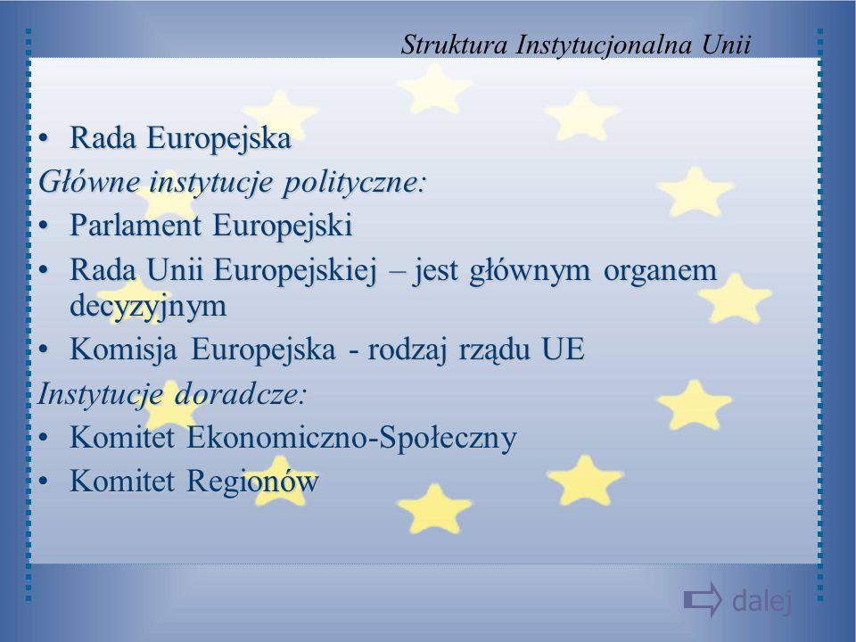 Rada EuropejskaRada Europejska Główne instytucje polityczne: Parlament EuropejskiParlament Europejski Rada Unii Europejskiej – jest głównym organem de