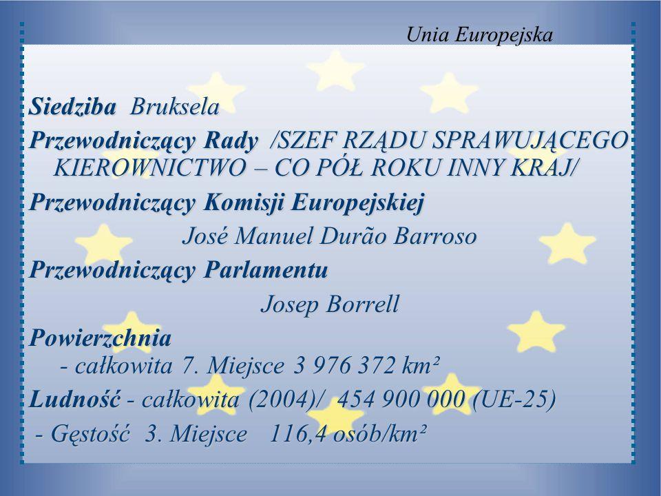Siedziba Bruksela Przewodniczący Rady /SZEF RZĄDU SPRAWUJĄCEGO KIEROWNICTWO – CO PÓŁ ROKU INNY KRAJ/ Przewodniczący Komisji Europejskiej José Manuel D
