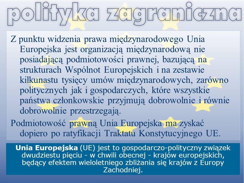 Z punktu widzenia prawa międzynarodowego Unia Europejska jest organizacją międzynarodową nie posiadającą podmiotowości prawnej, bazującą na strukturac