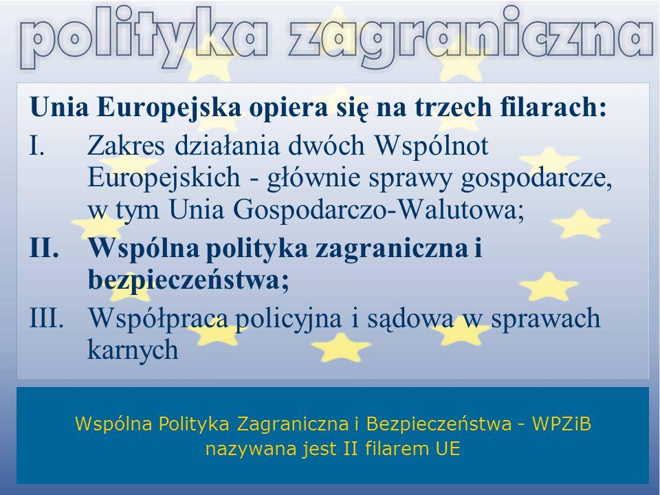 Unia Europejska opiera się na trzech filarach: I.Zakres działania dwóch Wspólnot Europejskich - głównie sprawy gospodarcze, w tym Unia Gospodarczo-Wal