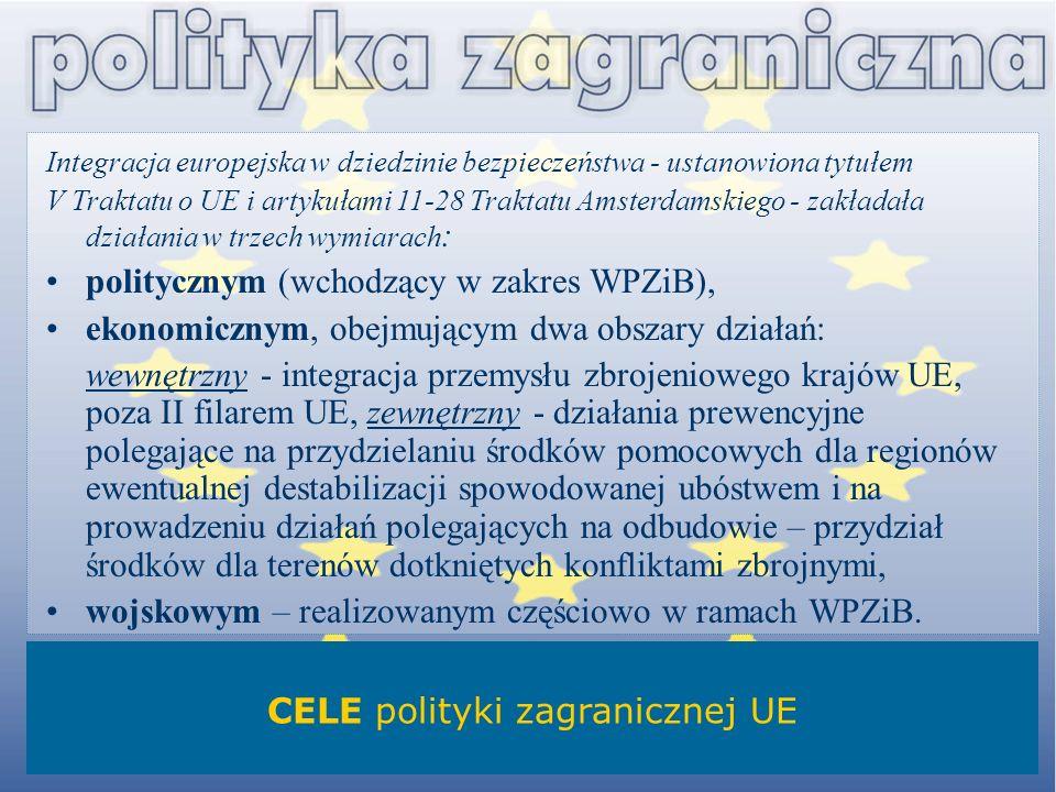 Integracja europejska w dziedzinie bezpieczeństwa - ustanowiona tytułem V Traktatu o UE i artykułami 11-28 Traktatu Amsterdamskiego - zakładała działa