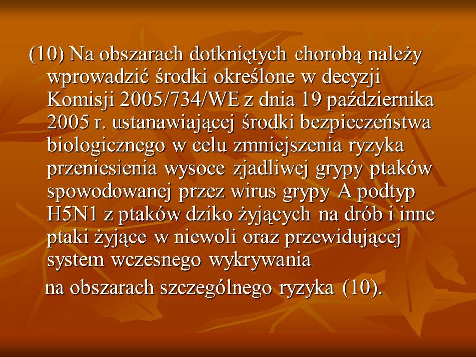(10) Na obszarach dotkniętych chorobą należy wprowadzić środki określone w decyzji Komisji 2005/734/WE z dnia 19 października 2005 r. ustanawiającej ś