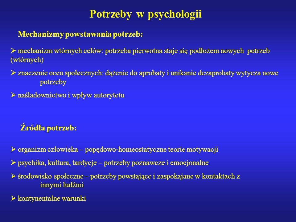 Potrzeby w psychologii Potrzeba: Biologiczny, psychologiczny, społeczny, narodowy, kulturowy, kontynentalny, globalny stan motywacyjny, ukierunkowując