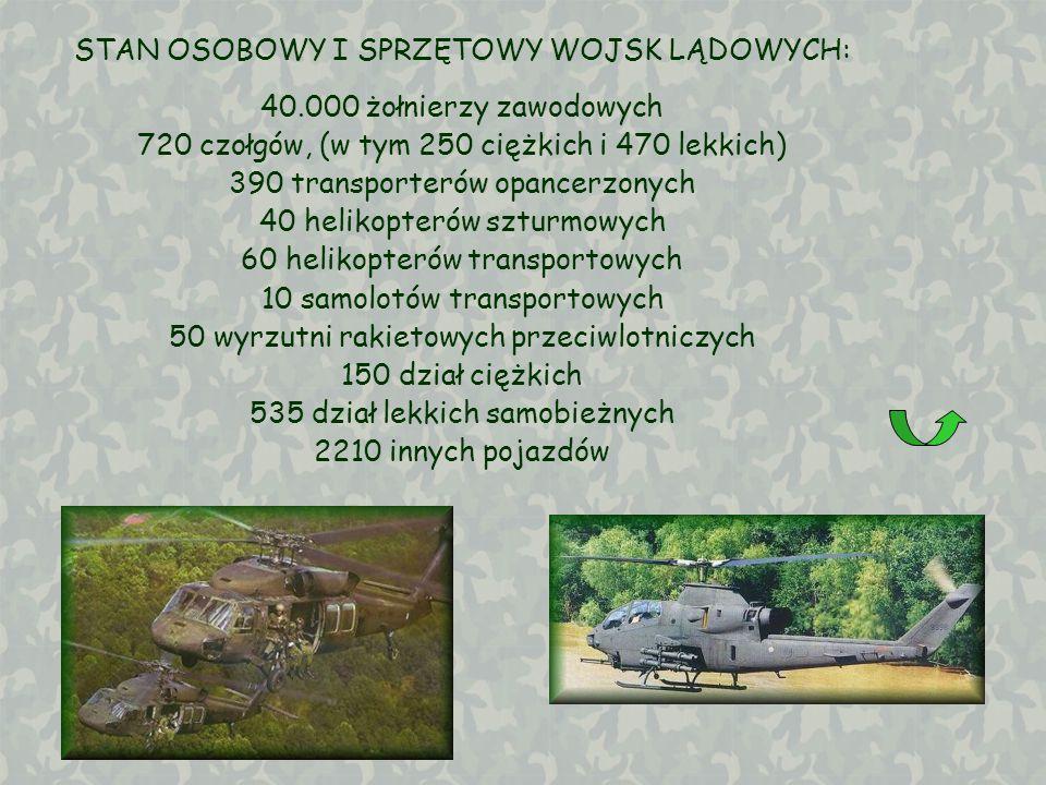 STAN OSOBOWY I SPRZĘTOWY WOJSK LĄDOWYCH: 40.000 żołnierzy zawodowych 720 czołgów, (w tym 250 ciężkich i 470 lekkich) 390 transporterów opancerzonych 4