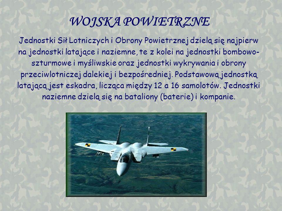 WOJSKA POWIETRZNE Jednostki Sił Lotniczych i Obrony Powietrznej dzielą się najpierw na jednostki latające i naziemne, te z kolei na jednostki bombowo-