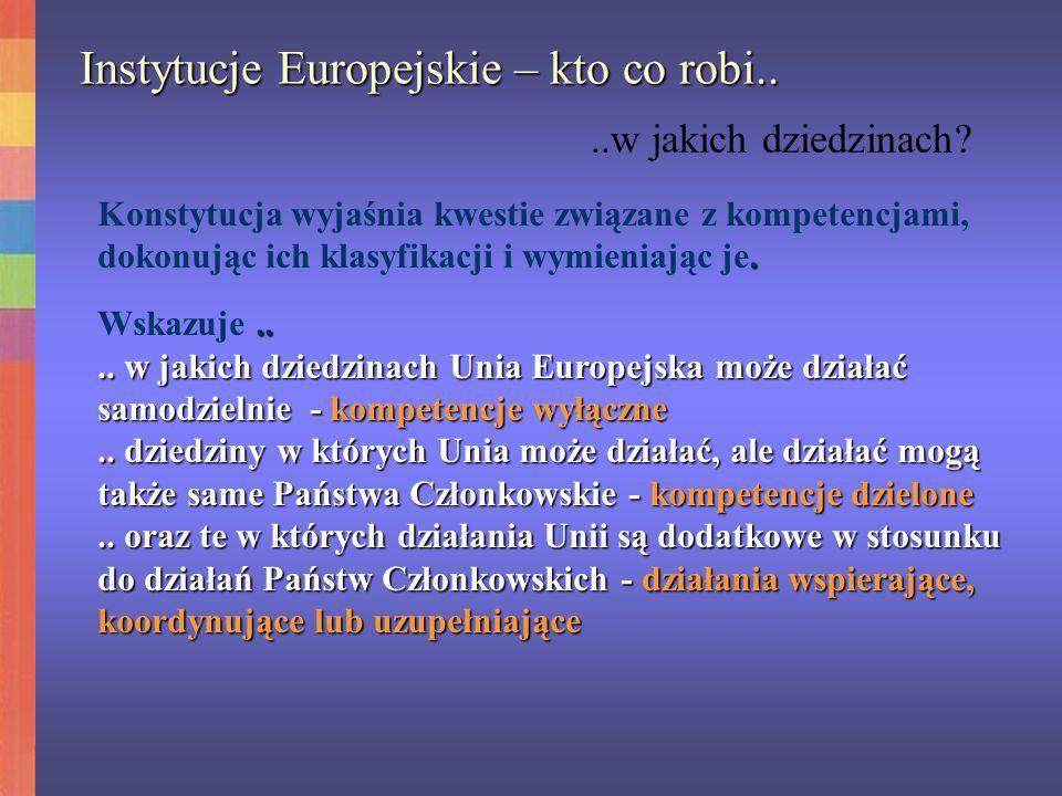 Instytucje Europejskie – kto co robi....w jakich dziedzinach?. Konstytucja wyjaśnia kwestie związane z kompetencjami, dokonując ich klasyfikacji i wym