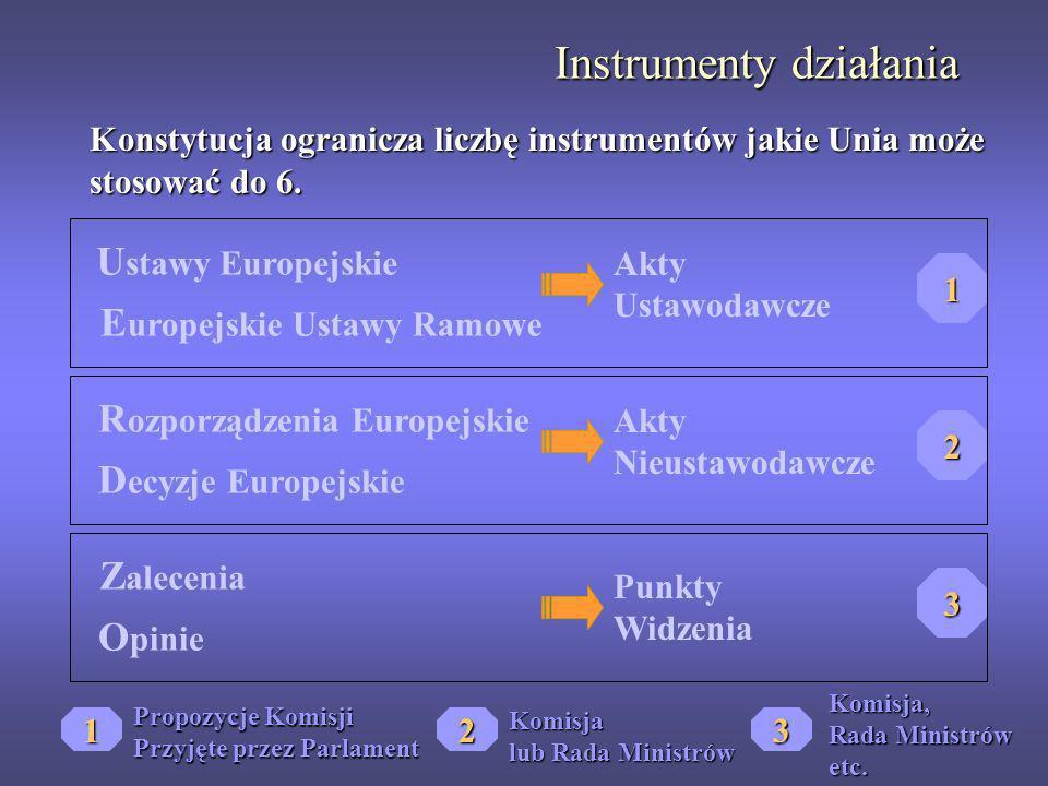 Instrumenty działania Konstytucja ogranicza liczbę instrumentów jakie Unia może stosować do 6. U stawy Europejskie E uropejskie Ustawy Ramowe R ozporz