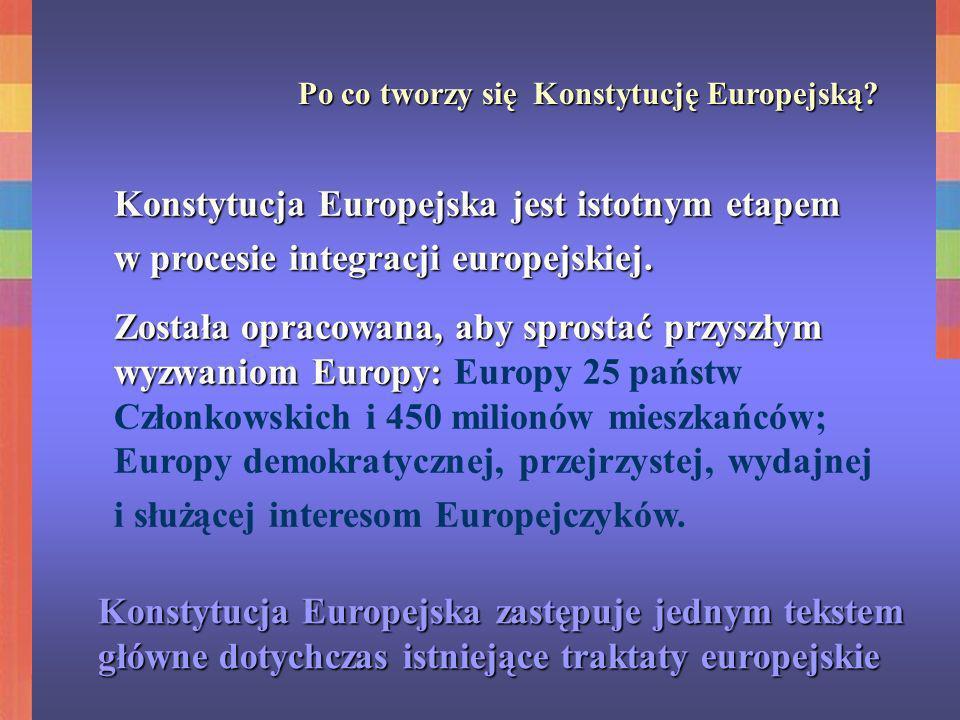 Po co tworzy się Konstytucję Europejską? Konstytucja Europejska jest istotnym etapem w procesie integracji europejskiej. Została opracowana, aby spros