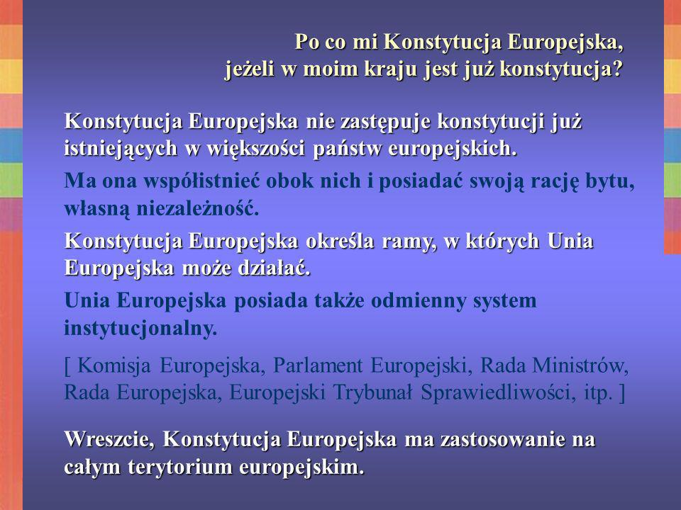 Co znajduje się w Konstytucji.Konstytucja Europejska podzielona jest na 4 części.