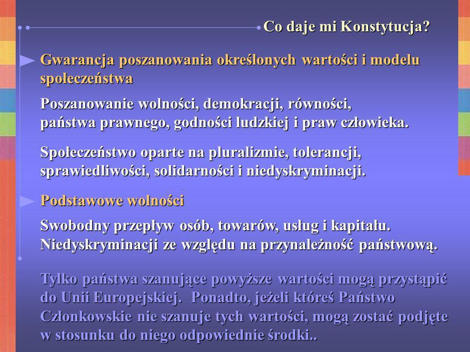 Co daje mi Konstytucja? Gwarancja poszanowania określonych wartości i modelu społeczeństwa Poszanowanie wolności, demokracji, równości, państwa prawne