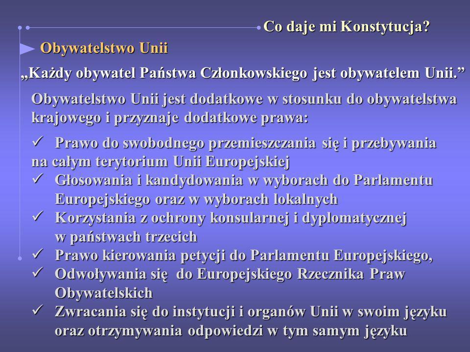 Obywatelstwo Unii Obywatelstwo Unii Każdy obywatel Państwa Członkowskiego jest obywatelem Unii. Obywatelstwo Unii jest dodatkowe w stosunku do obywate
