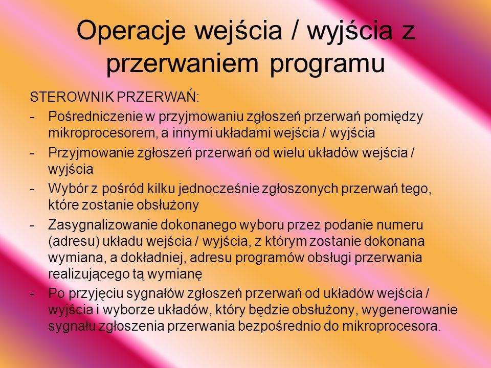 Operacje wejścia / wyjścia z przerwaniem programu STEROWNIK PRZERWAŃ: -P-Pośredniczenie w przyjmowaniu zgłoszeń przerwań pomiędzy mikroprocesorem, a i