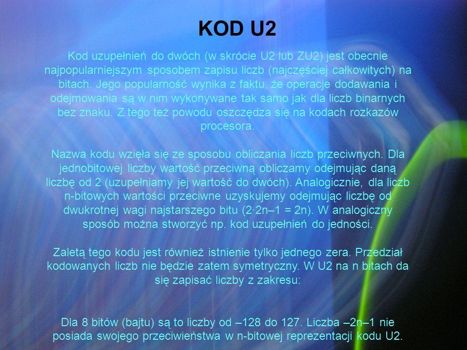 Kod uzupełnień do dwóch (w skrócie U2 lub ZU2) jest obecnie najpopularniejszym sposobem zapisu liczb (najczęściej całkowitych) na bitach. Jego popular