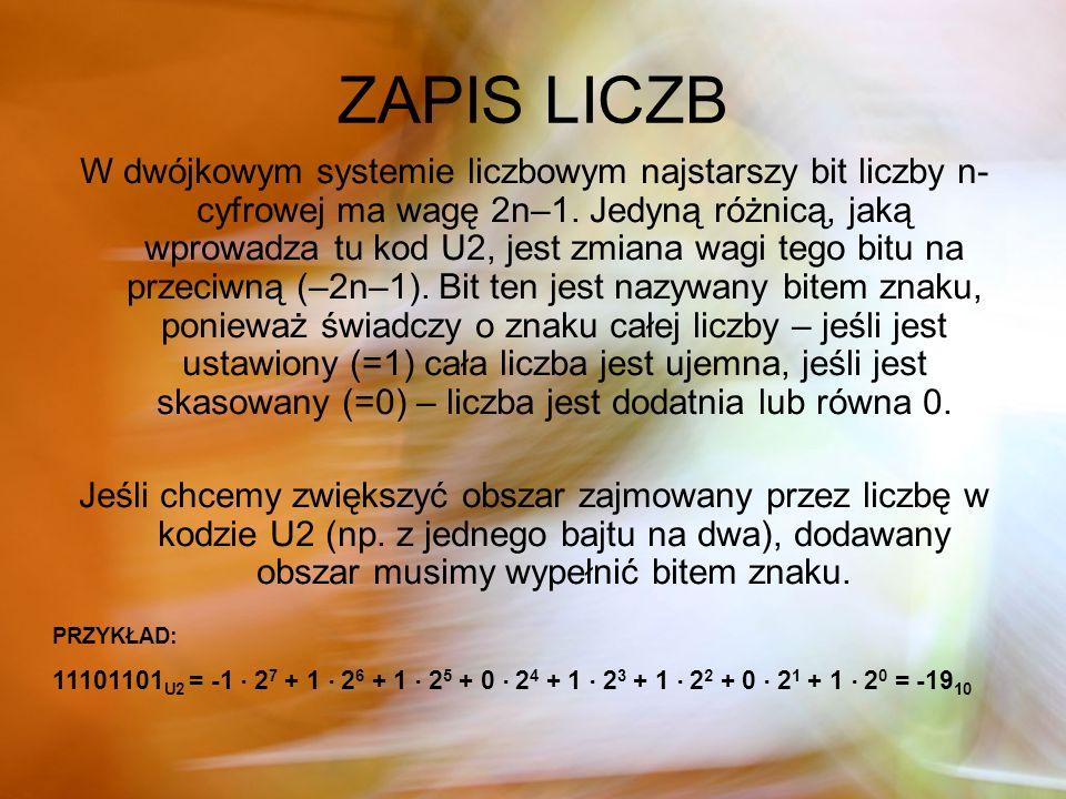 ZAPIS LICZB W dwójkowym systemie liczbowym najstarszy bit liczby n- cyfrowej ma wagę 2n–1. Jedyną różnicą, jaką wprowadza tu kod U2, jest zmiana wagi