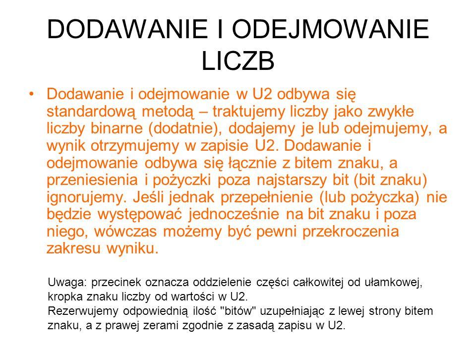 DODAWANIE I ODEJMOWANIE LICZB Dodawanie i odejmowanie w U2 odbywa się standardową metodą – traktujemy liczby jako zwykłe liczby binarne (dodatnie), do