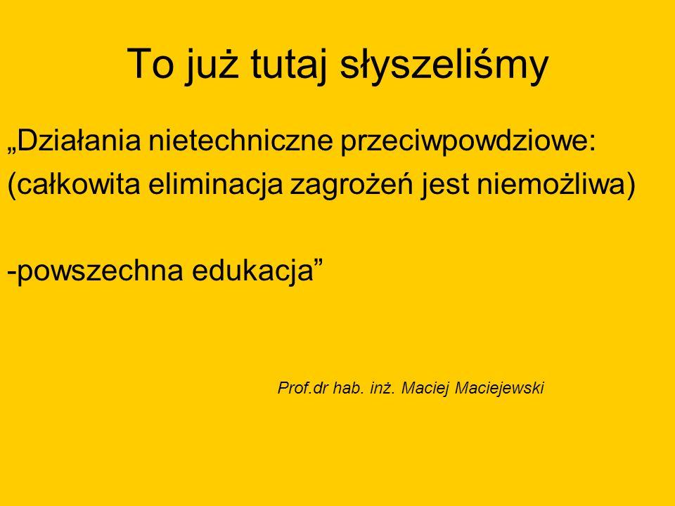 To już tutaj słyszeliśmy Działania nietechniczne przeciwpowdziowe: (całkowita eliminacja zagrożeń jest niemożliwa) -powszechna edukacja Prof.dr hab. i