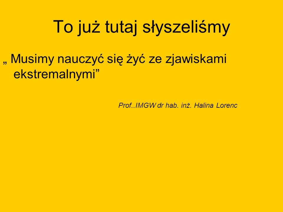 To już tutaj słyszeliśmy Musimy nauczyć się żyć ze zjawiskami ekstremalnymi Prof..IMGW dr hab. inż. Halina Lorenc