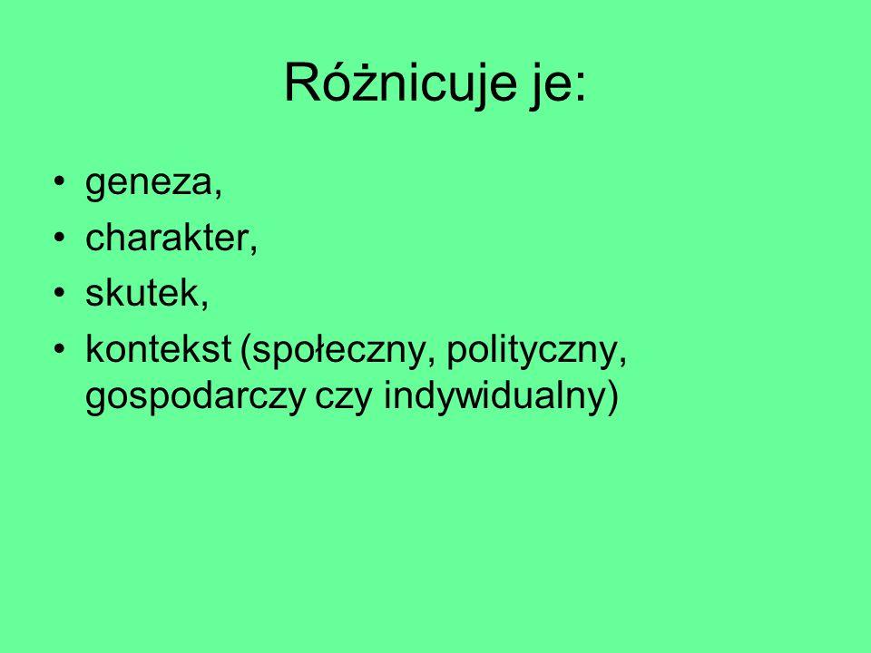 Różnicuje je: geneza, charakter, skutek, kontekst (społeczny, polityczny, gospodarczy czy indywidualny)
