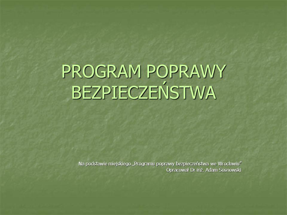 PROGRAM POPRAWY BEZPIECZEŃSTWA Na podstawie miejskiego Programu poprawy bezpieczeństwa we Wrocławiu Opracował Dr inż. Adam Sosnowski