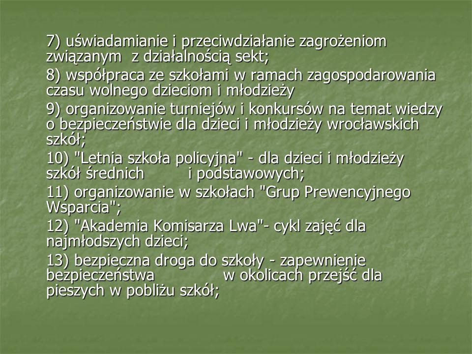 7) uświadamianie i przeciwdziałanie zagrożeniom związanym z działalnością sekt; 8) współpraca ze szkołami w ramach zagospodarowania czasu wolnego dzie