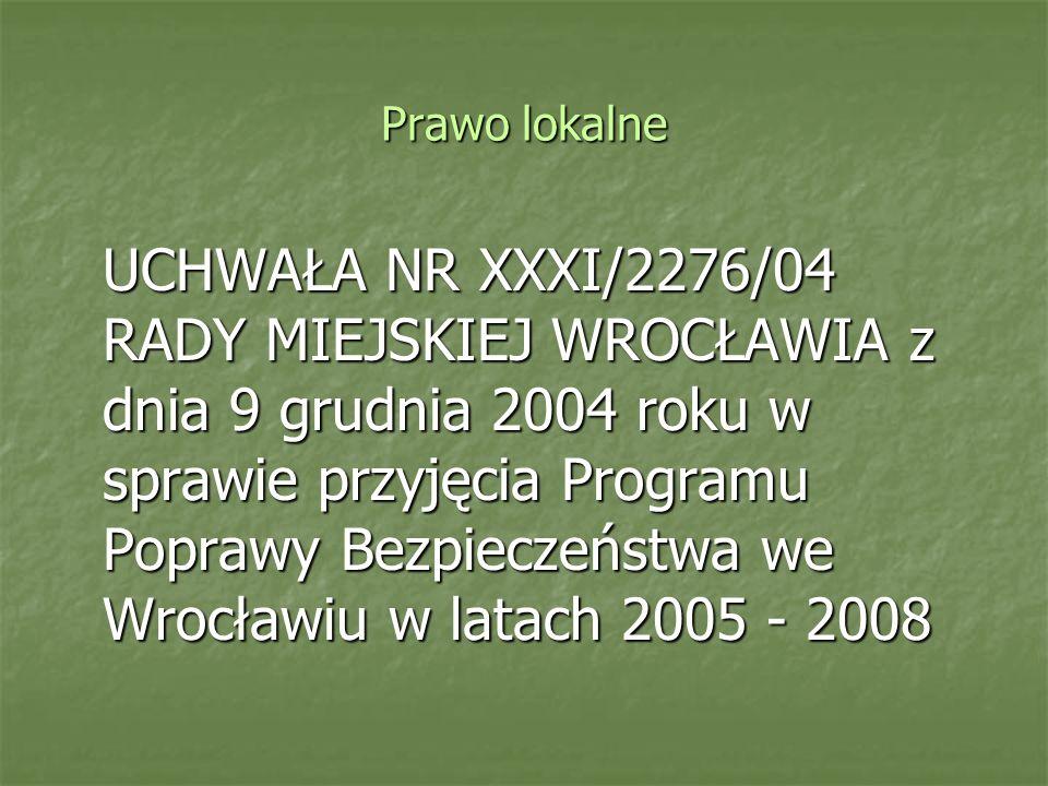 Prawo lokalne UCHWAŁA NR XXXI/2276/04 RADY MIEJSKIEJ WROCŁAWIA z dnia 9 grudnia 2004 roku w sprawie przyjęcia Programu Poprawy Bezpieczeństwa we Wrocł