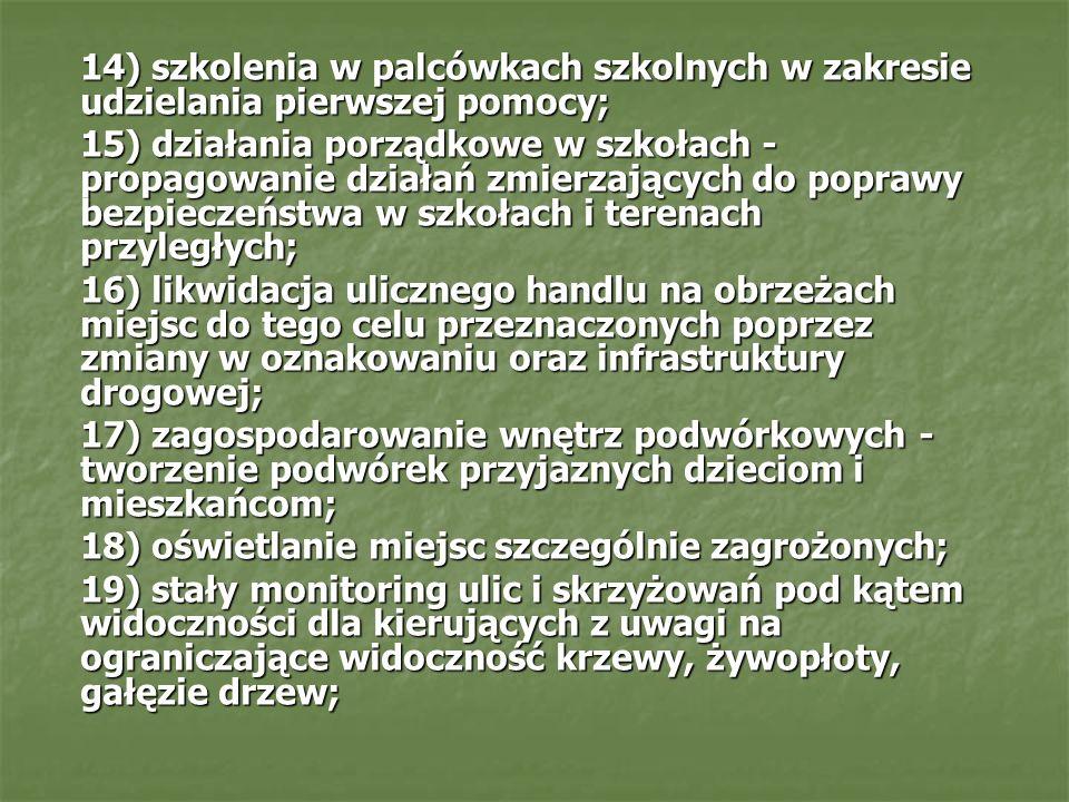 14) szkolenia w palcówkach szkolnych w zakresie udzielania pierwszej pomocy; 15) działania porządkowe w szkołach - propagowanie działań zmierzających