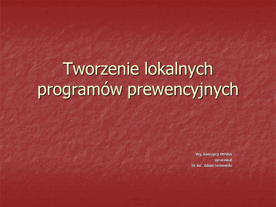 Tworzenie lokalnych programów prewencyjnych Wg. koncepcji MSWiA opracował Dr inż. Adam Sosnowski