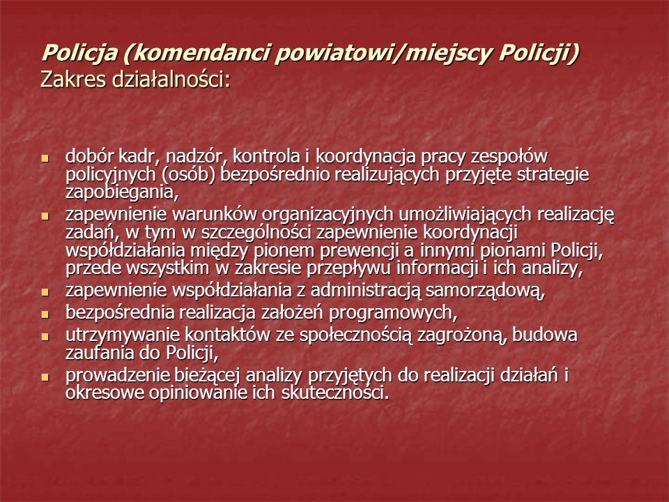 Policja (komendanci powiatowi/miejscy Policji) Zakres działalności: dobór kadr, nadzór, kontrola i koordynacja pracy zespołów policyjnych (osób) bezpo