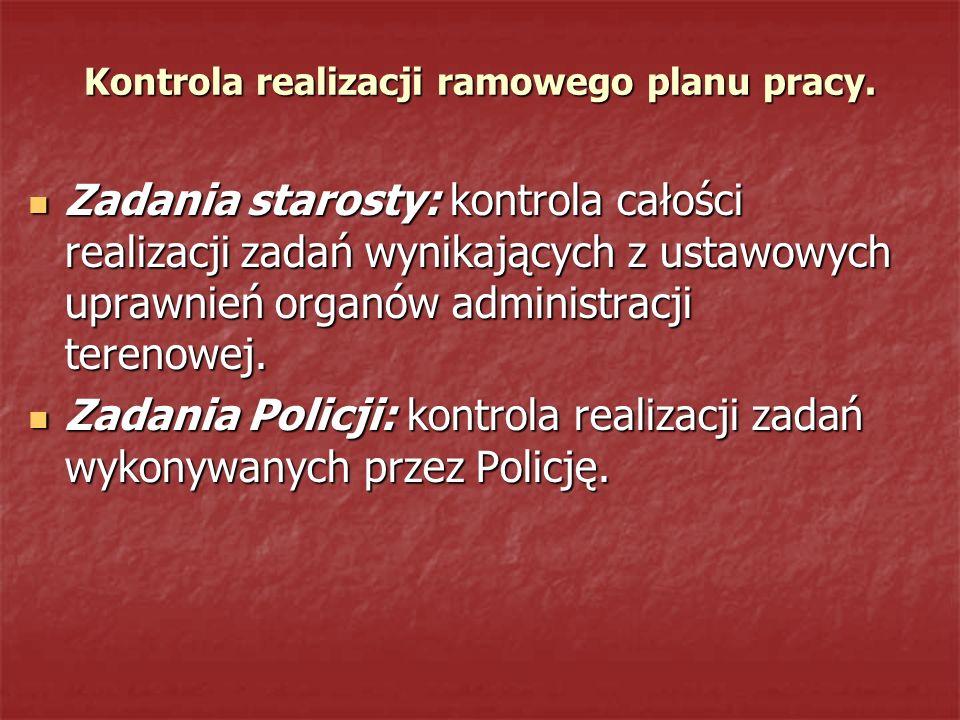 Kontrola realizacji ramowego planu pracy. Zadania starosty: kontrola całości realizacji zadań wynikających z ustawowych uprawnień organów administracj