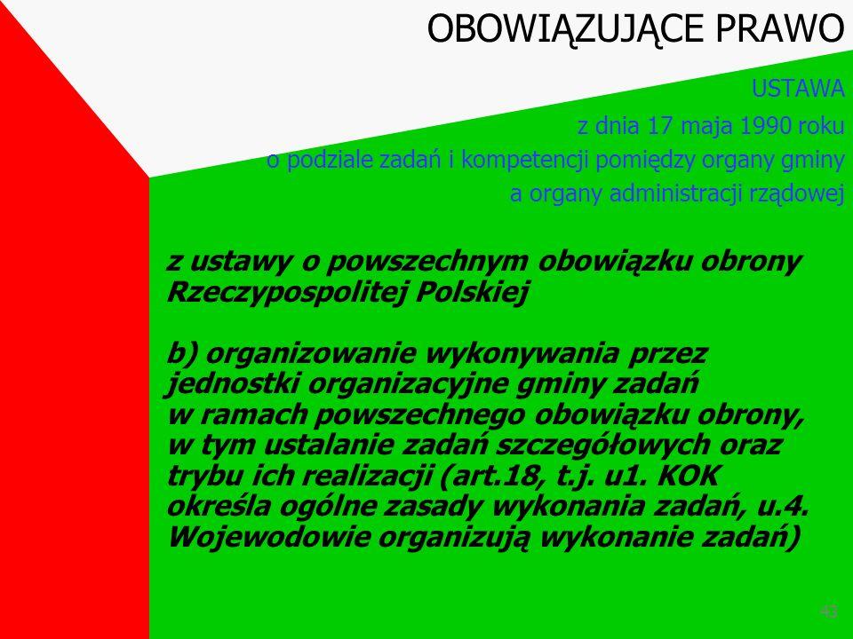 42 Z ustawy o powszechnym obowiązku obrony Rzeczypospolitej Polskiej a) przygotowanie ludności i mienia komunalnego na wypadek wojny oraz wykonywanie