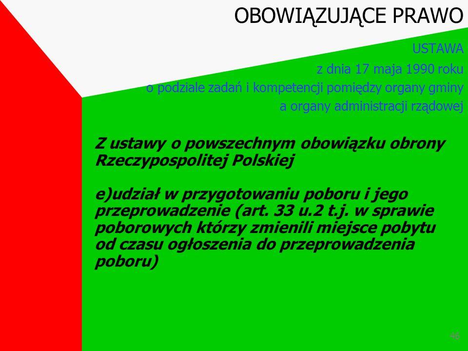 45 Z ustawy o powszechnym obowiązku obrony Rzeczypospolitej Polskiej d) czynności związane z wykonywaniem powszechnego obowiązku obrony oraz współdzia