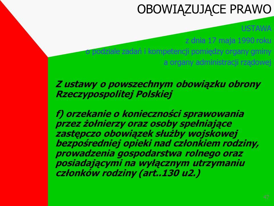 46 Z ustawy o powszechnym obowiązku obrony Rzeczypospolitej Polskiej e)udział w przygotowaniu poboru i jego przeprowadzenie (art. 33 u.2 t.j. w sprawi