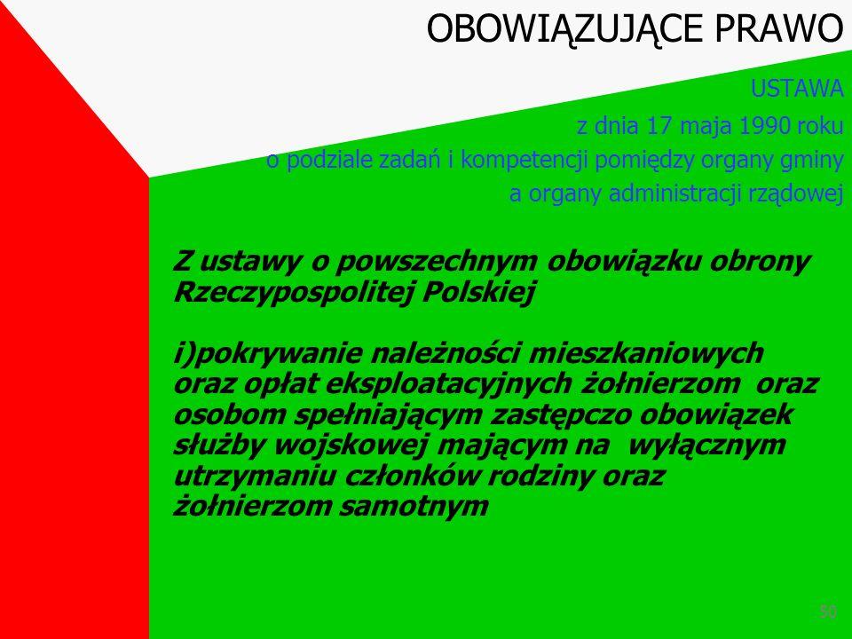 49 Z ustawy o powszechnym obowiązku obrony Rzeczypospolitej Polskiej h) zmiana OBOWIĄZUJĄCE PRAWO USTAWA z dnia 17 maja 1990 roku o podziale zadań i k